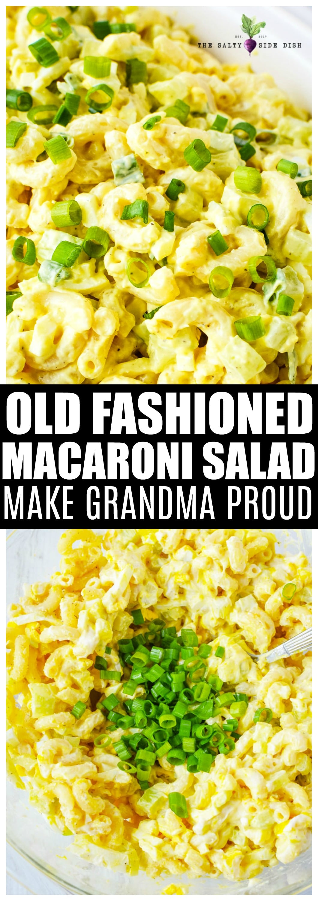 Old Fashioned Macaroni Salad Recipe side dish perfect for feeding a crowd - just like grandma's! #macaronisalad #salads #summersalads #retro #holiday #recipe #foodie
