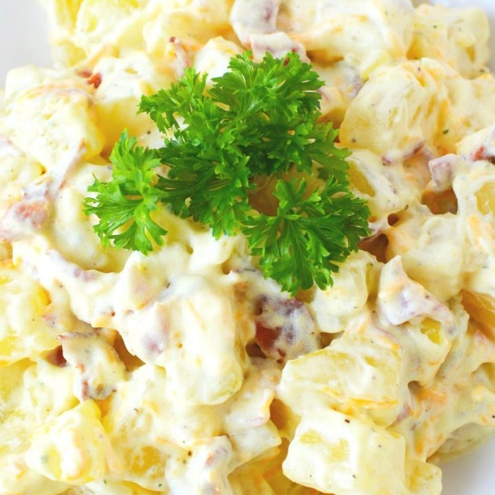 Southern Potato Salad Loaded with Bacon and Cheese