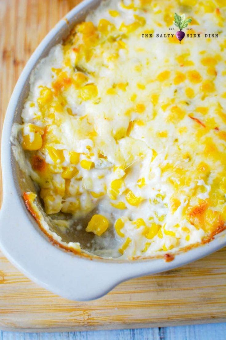 crack corn dip recipe in a white casserole dish