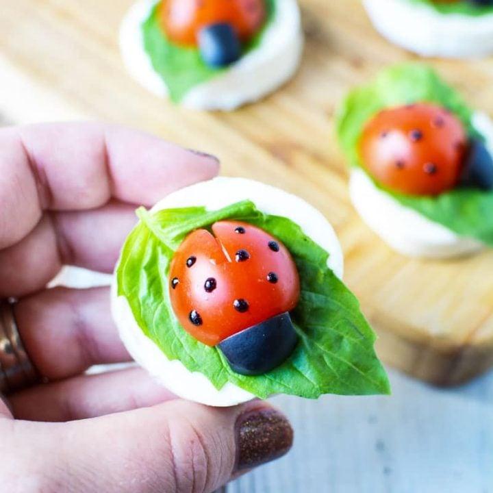 Caprese Ladybug Appetizer Tray with Tomatoes and Mozzarella