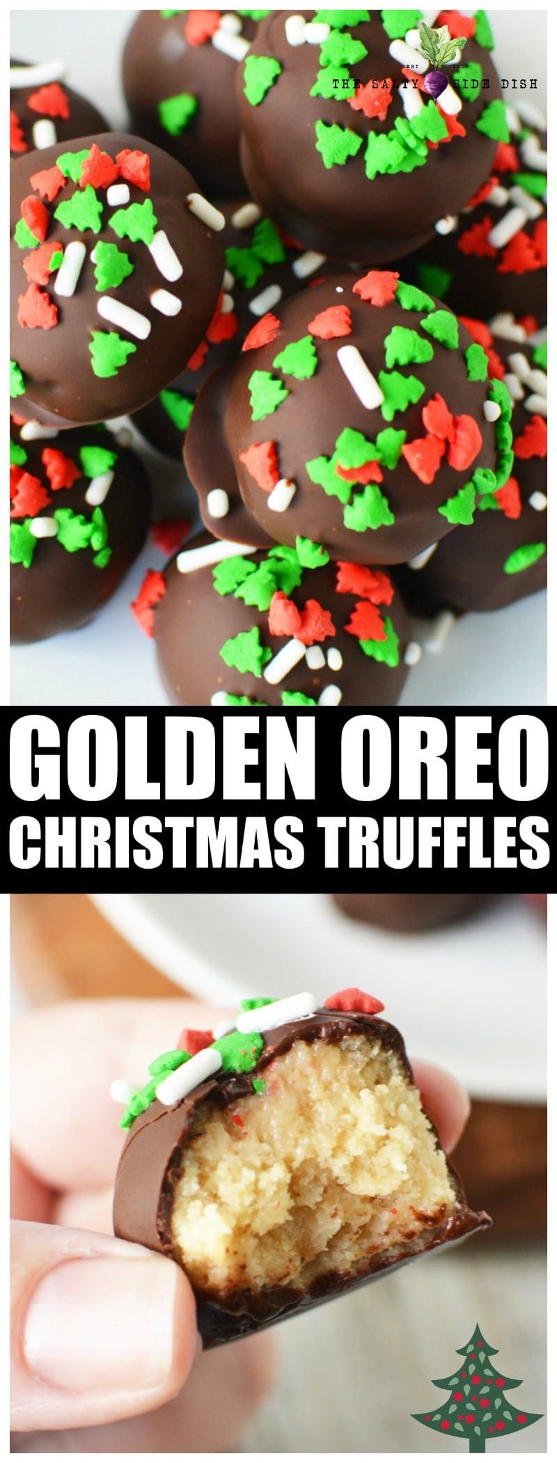 No Bake Oreo Truffles Recipe | Golden Oreo Truffles| Christmas Oreo Truffles #dessert #oreos #oreodessert #holidays #holidayfood #sprinkles #christmas #christmasideas
