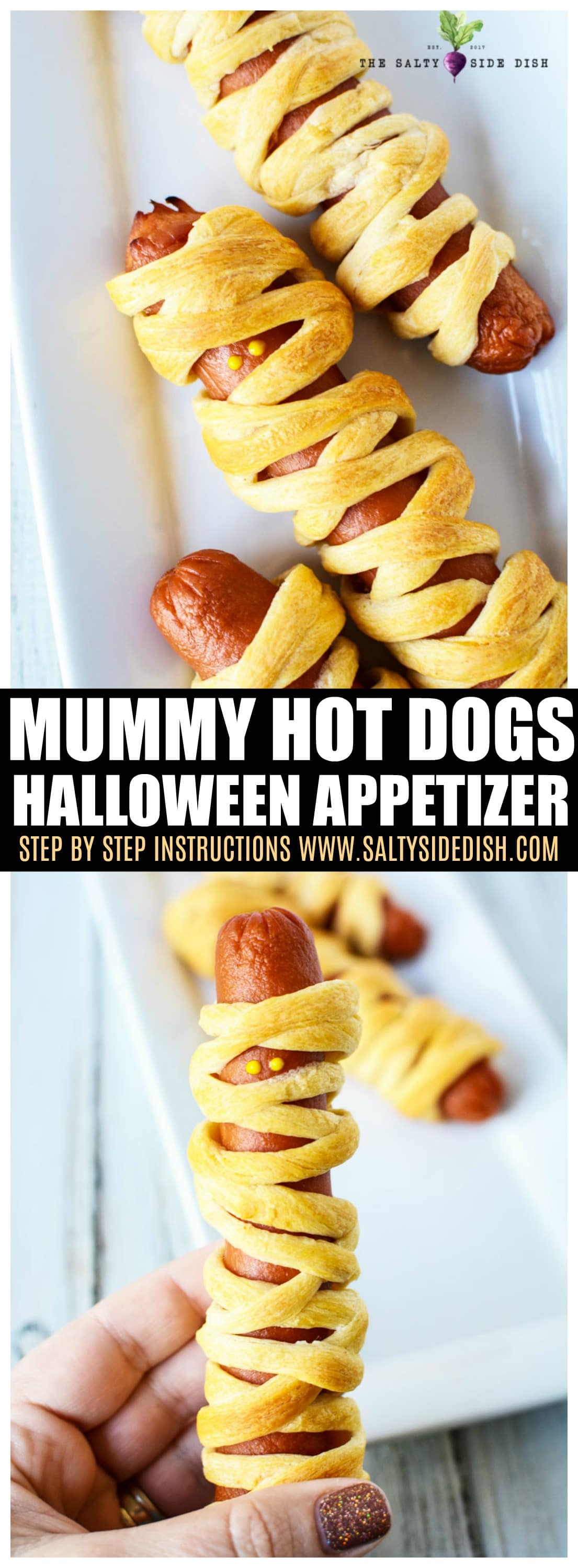 Mummy Hot Dogs | Easy Halloween Party Platter Appetizer Recipe | Top Tips! #appetizer #halloween #hotdogs #partyplatter
