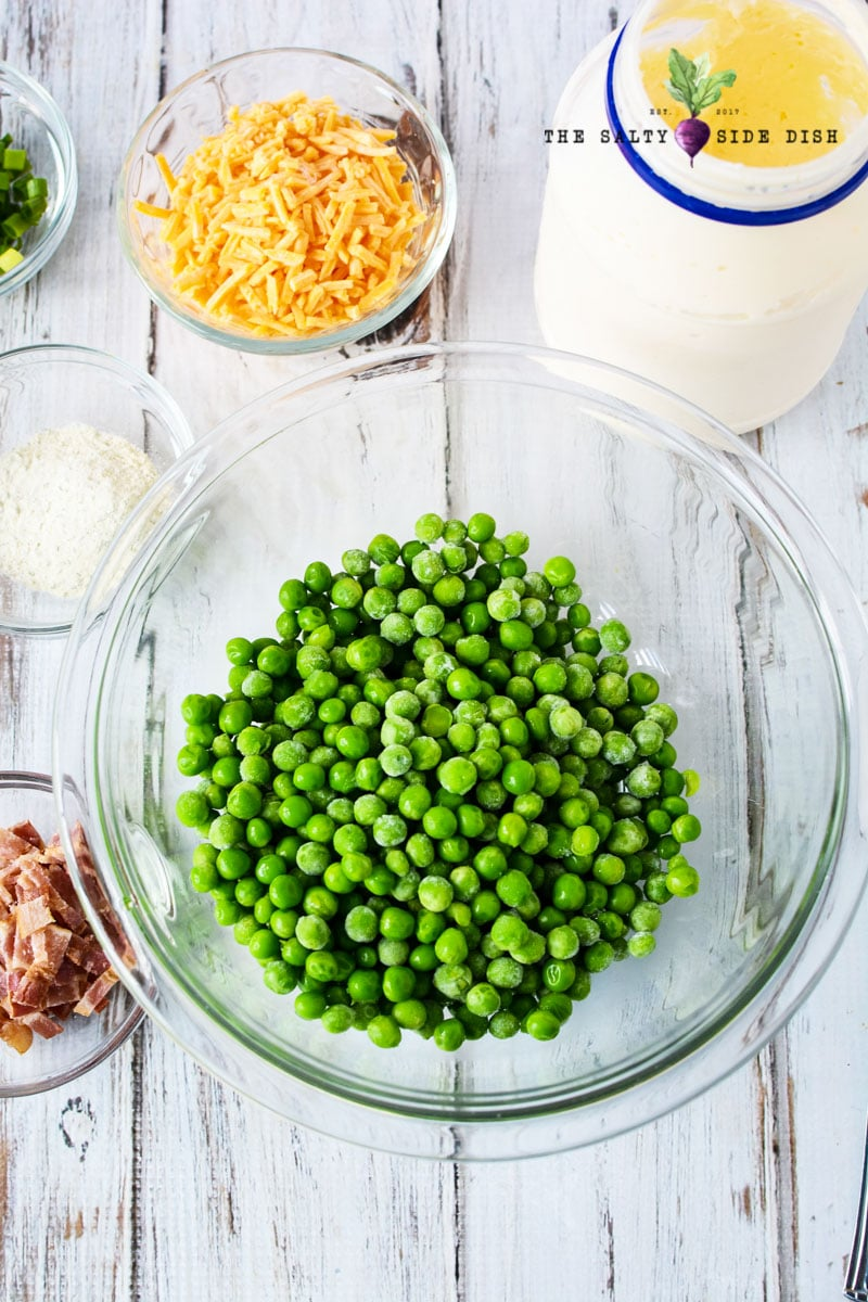 peas in a glass bowl