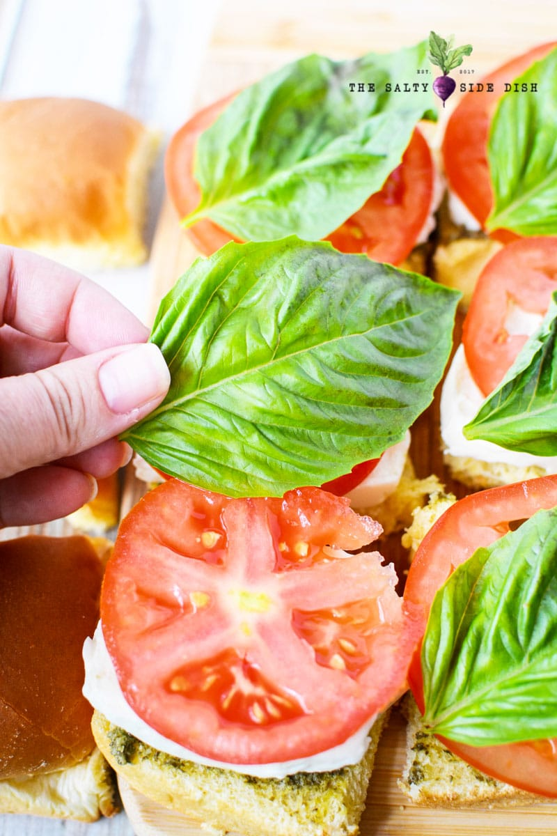 fresh basil leave being added onto sandwiches with tomato