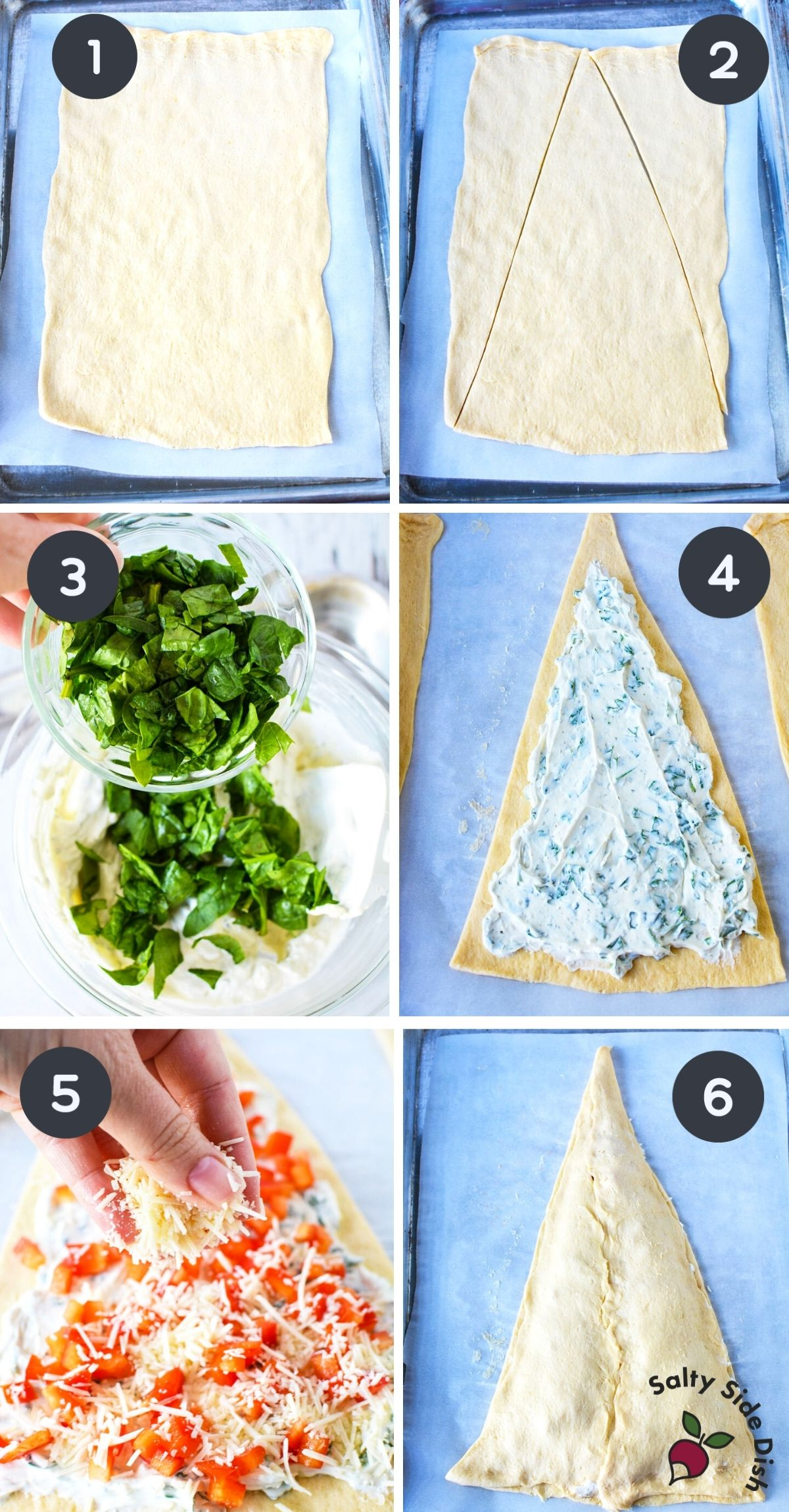6 image collage on how to lay out bread dough and cut into a tree