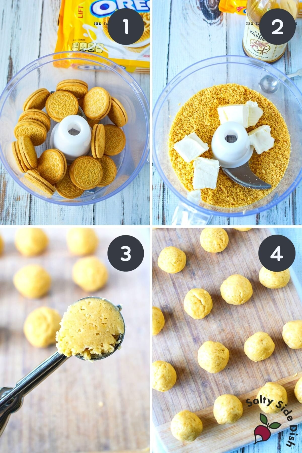 golden Oreo cookies being made into crumbs and turned into Oreo balls.