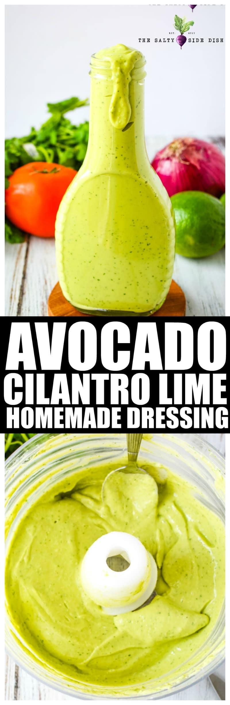 Avocado Cilantro Dressing with lime | Easy Homemade Avocado Dressing #dressing #salad #sauce #dip #avocado
