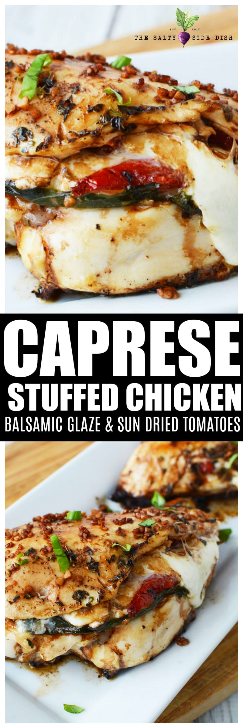 Caprese Stuffed chicken with balsamic glaze has delicious tomatoes and mozzarella cheese and is a perfect chicken breast recipe #chicken #chickenbreasts #caprese #bakedchicken #chickendinner #recipes