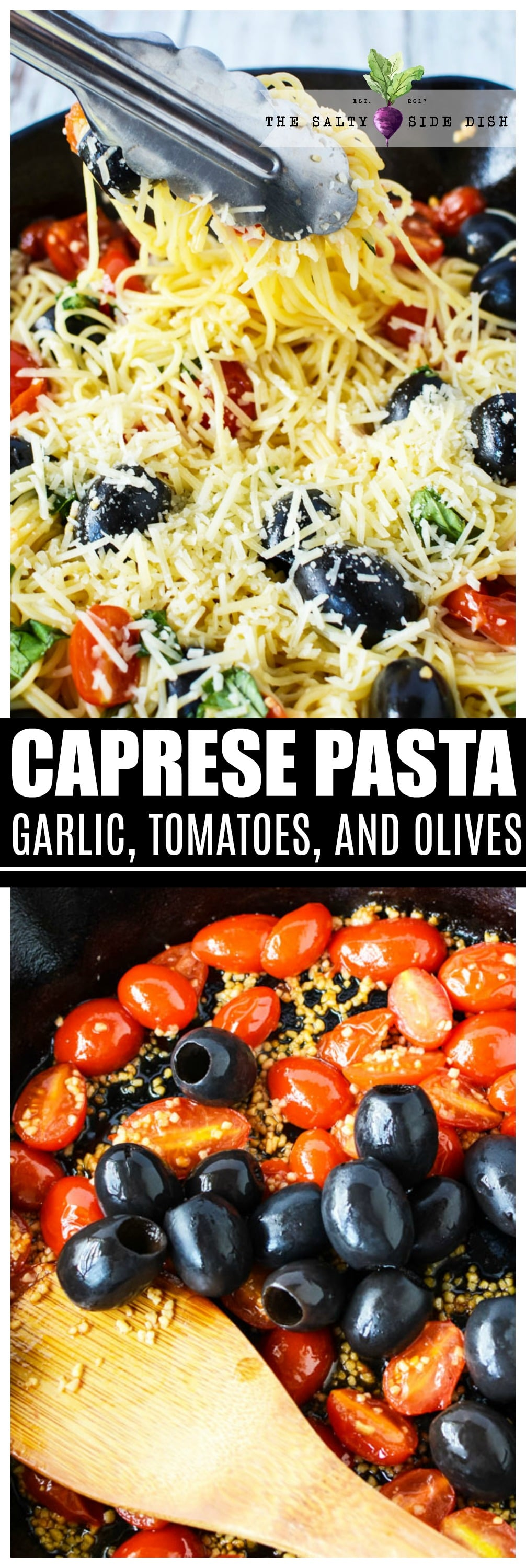 Easy Pasta Caprese | Bold flavors of tomato, basil and garlic make up this Caprese Pasta #sidedish #appetizer #olives #caprese #italian