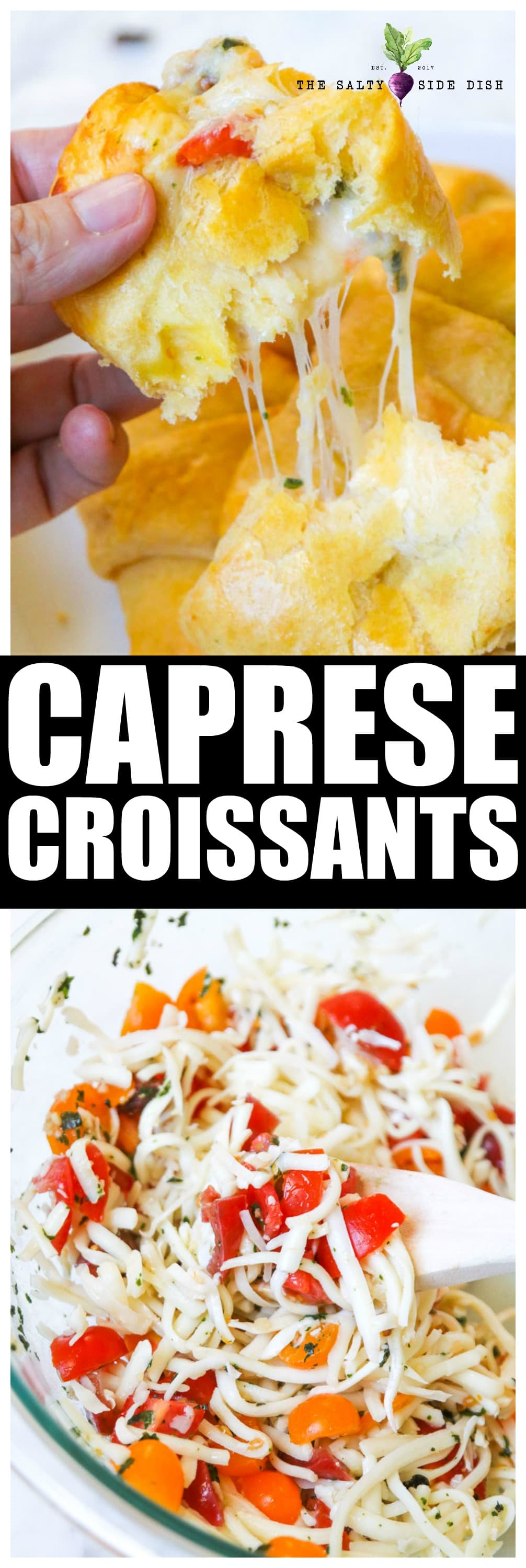 Caprese Croissants   Hot Melty Cheesy Appetizer perfection   Easy 10 minute side dish with crusty flaky bread and pull apart cheese #ad #sargento #cheese #appetizer #saltysidedish #sidedish #recipe