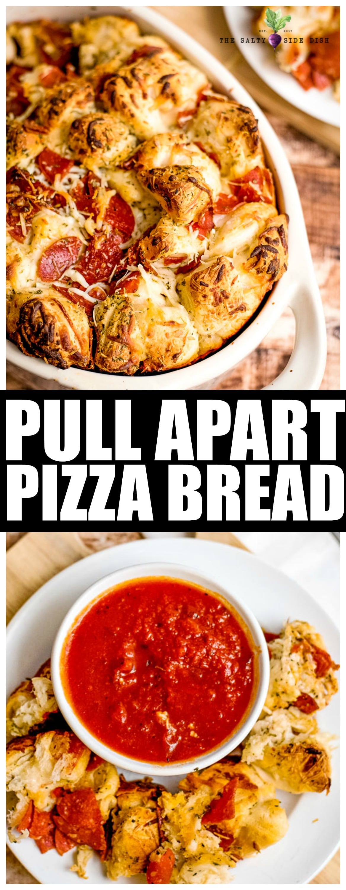 Pull Apart Pizza Bread with Pillsbury biscuits is an easy go to appetizer packed full of pepperoni, flaky biscuits, and melty cheese to make a hearty meal. #appetizer #pizza #bread #sidedish #saltysidedish #party