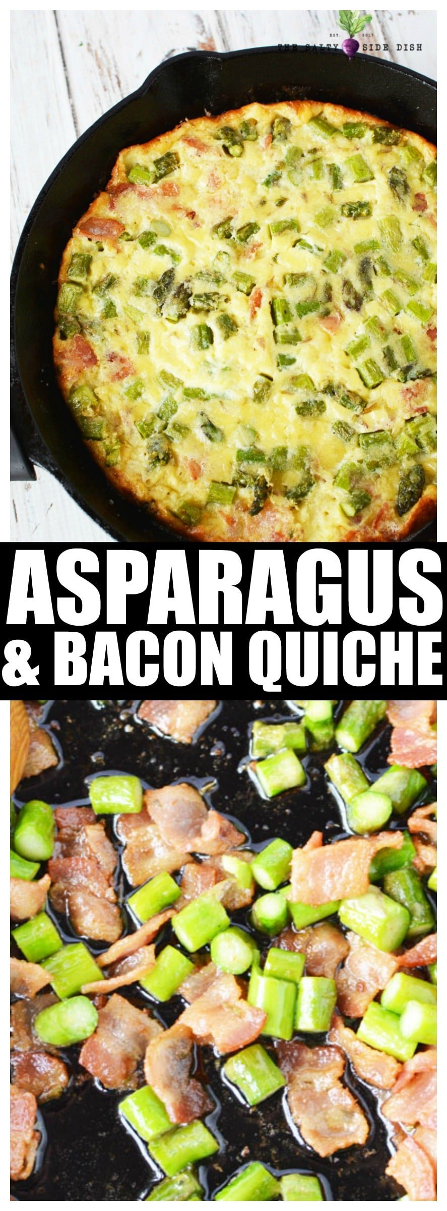 Asparagus Quiche with Bacon is a perfect breakfast side dish #quiche #asparagus #recipe #breakfast #sidedish #saltysidedish