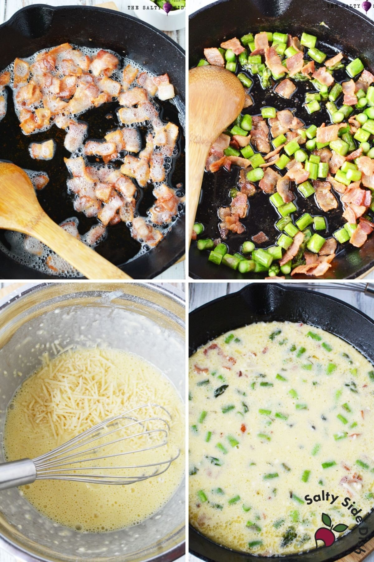 adding bacon, asparagus and egg mixture to a cast iron pan for quiche