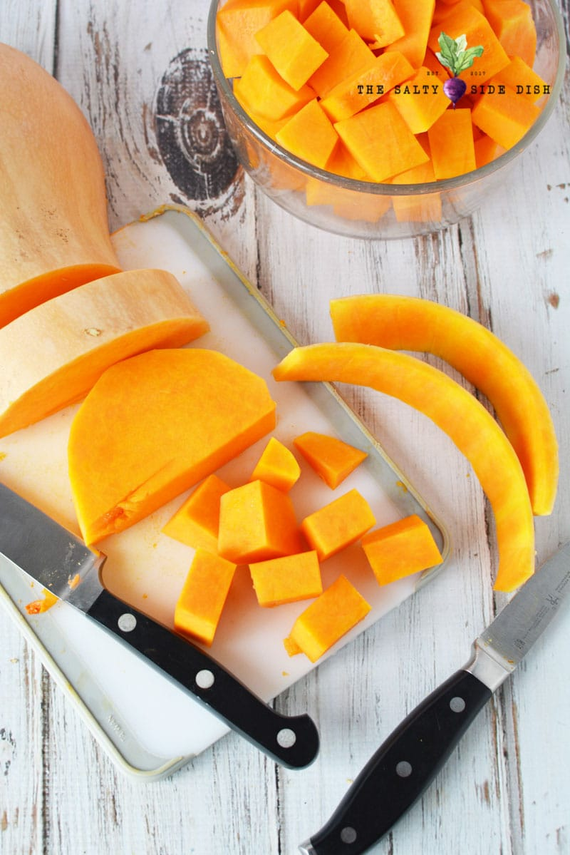 squash can be hard to cut up so make sure you have sharp knives