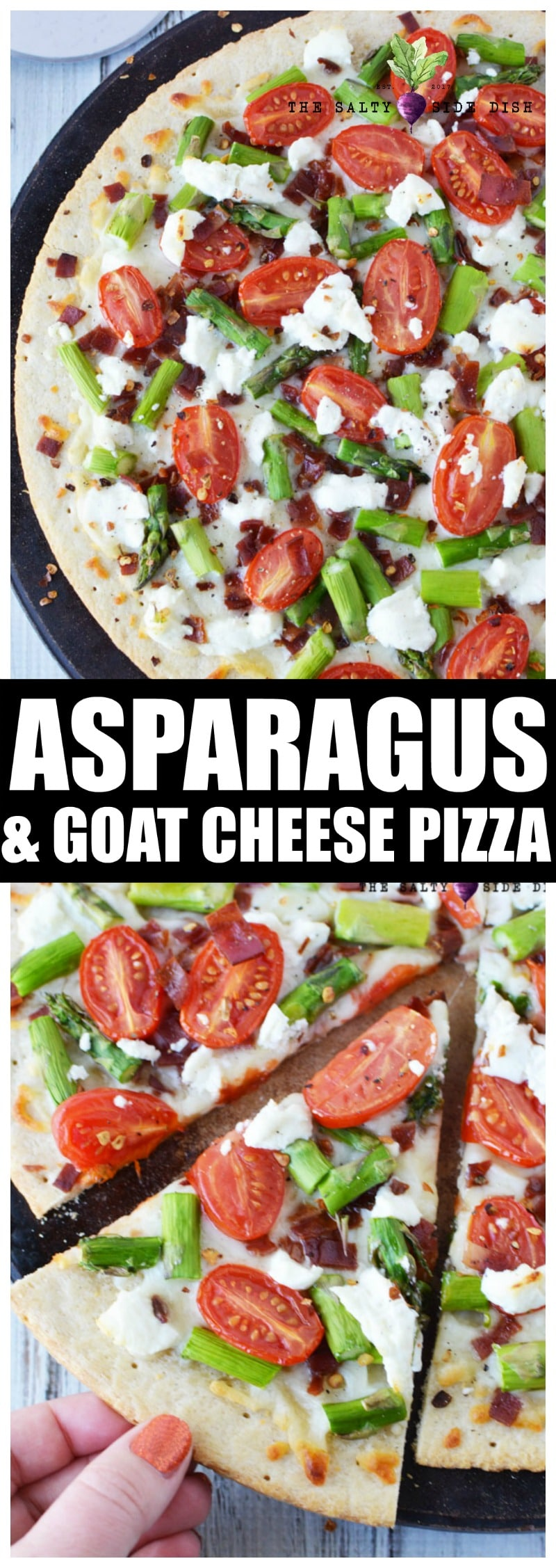 Asparagus Pizza with Creamy Goat Cheese and Crispy bacon make up the perfect homemade pizza #bacon #goatcheese #dinner #recipes #menu #pizza #asparagus #saltysidedish #appetizer #italian