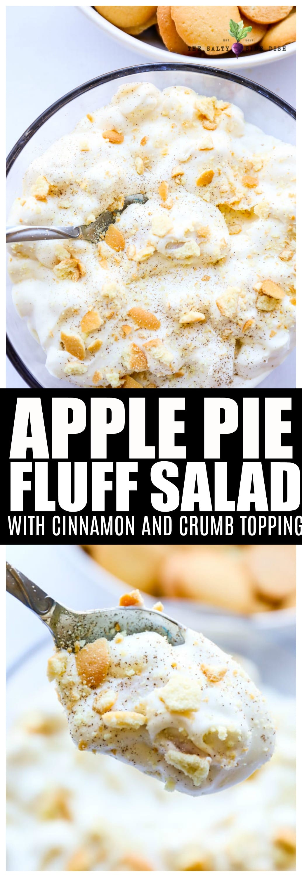 Apple Pie Fluff Salad tastes JUST LIKE Apple Pie! Move over watergate, this is your new favorite fluff #fluffsalad #applepie #dessert #salads #recipe #sidedish #saltysidedish
