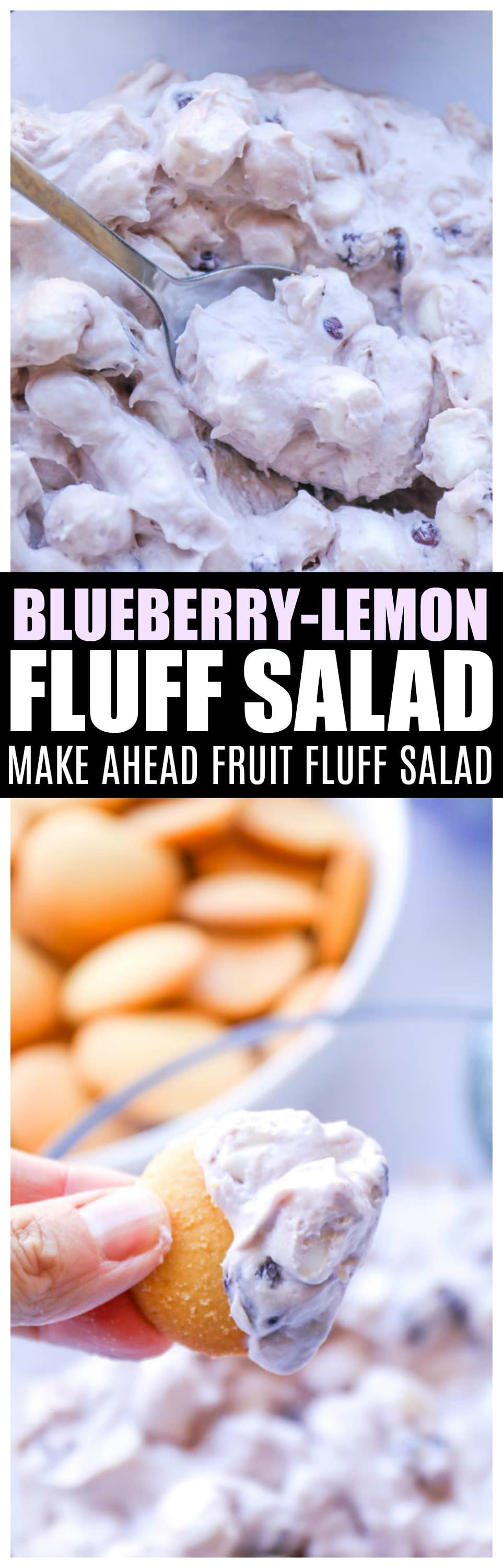 Blueberry Lemon Fluff Salad | Make ahead dessert side dish #fluffsalad #recipes #blueberry #sidedish #saltysidedish
