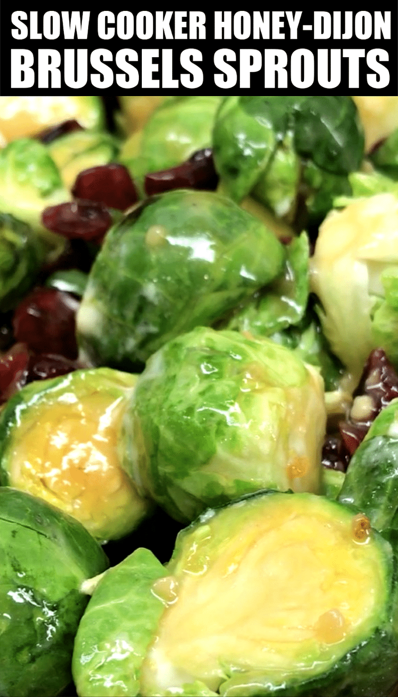 Honey Dijon Brussels Sprouts with cranberries, a sweet Brussel Sprouts dish in a slow cooker #saltysidedish #sidedish #slowcooker #crockpot #brusselsprouts #vegetables