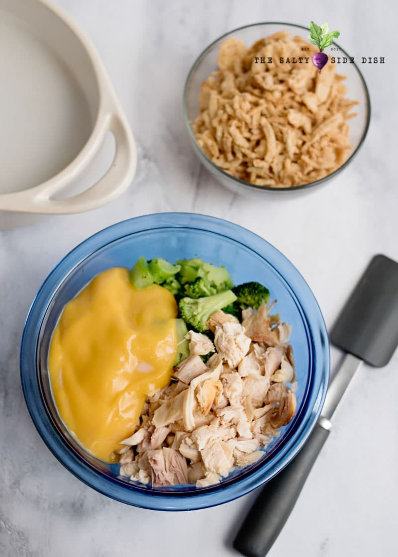 mix up your cheese, broccoli and chicken in a bowl