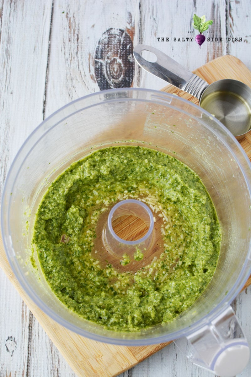 use food processor to create a perfect blend of pesto