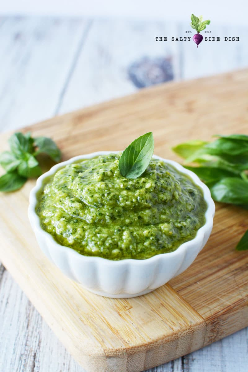 tons of amazing homemade pesto in a bowl