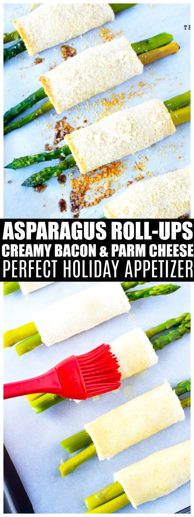 Oven Roasted Asparagus with Parmesan Cheese wrapped in bread crusts and creamy cheese is a unique asparagus appetizer for a crowd. #appetizer #sidedish #asparagus #saltysidedish #vegetables