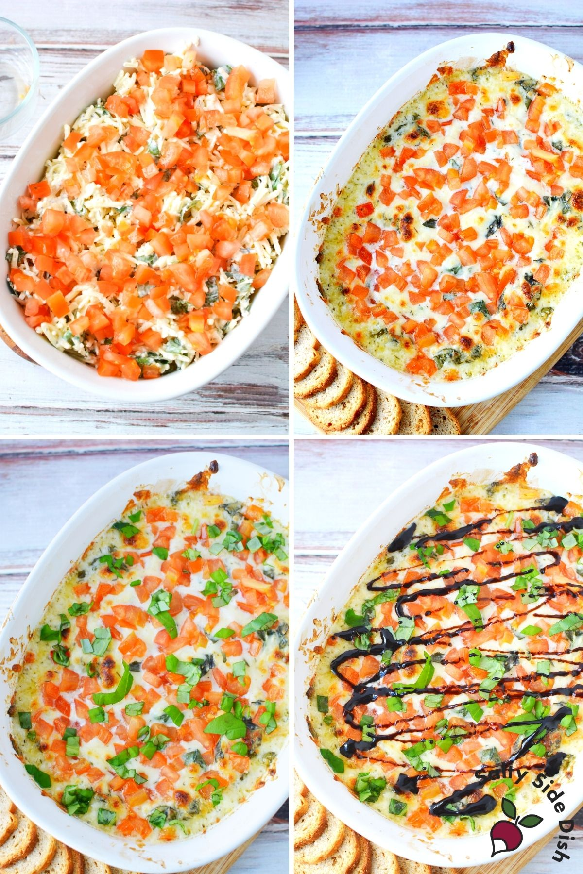 mozzarella cheese dip covered with tomatoes