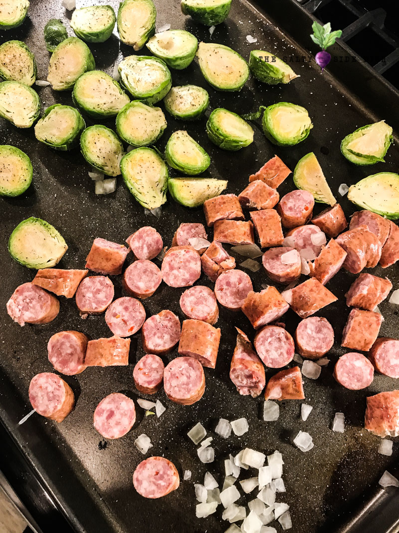 roasted brussel sprouts with sausage and onion