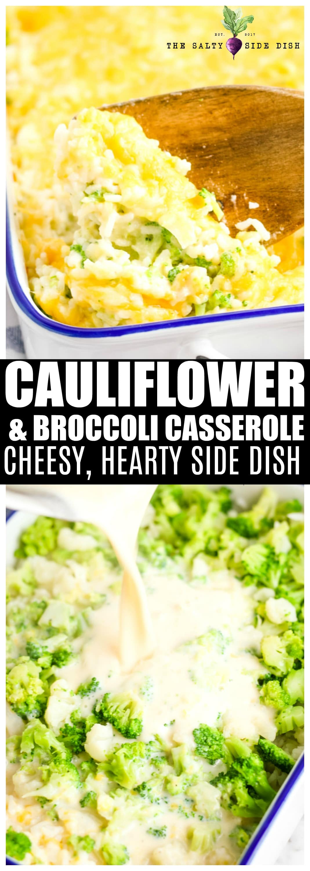Cauliflower Casserole, or rather a Cheesy Broccoli Cauliflower Rice Casserole, is the perfect hearty side dish #sidedish #casserole #broccoli #cauliflower #cauliflowercasserole