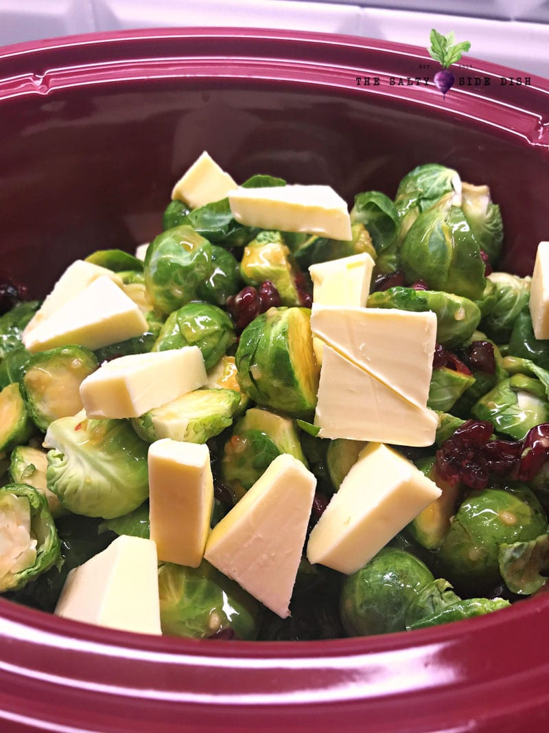 add butter to slow cooker dish with Brussels sprouts