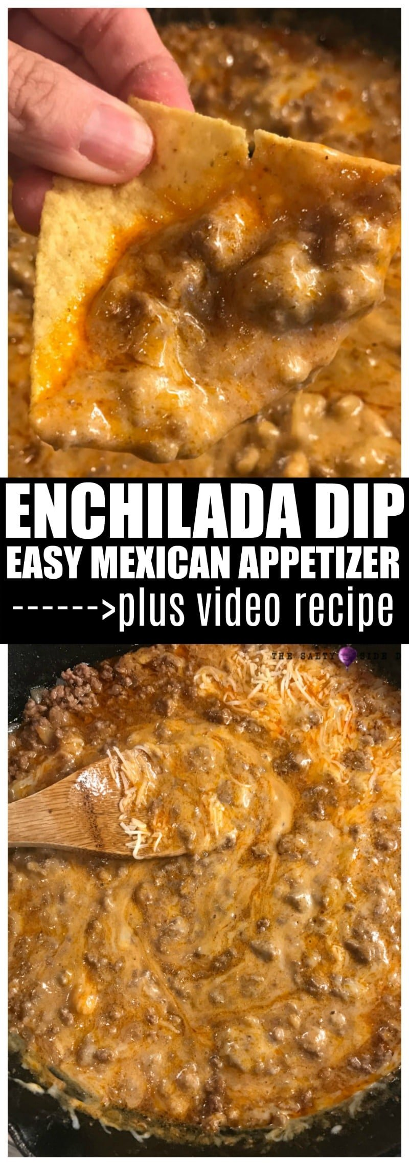 Enchilada Dip with Ground Beef is a Delicious Mexican beef appetizer or side dish that is ready to serve in 15 minutes flat. #sidedish #mexican #dips #dip #saltysidedish #appetizer #beef #groundbeef #cheese
