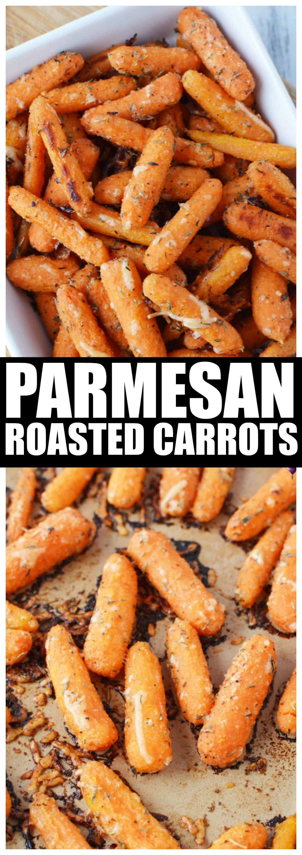 Parmesan Roasted Carrots Recipe in the Oven with Garlic and Freshly Grated Cheese #ovenroasted #sidedish #carrots #saltysidedish