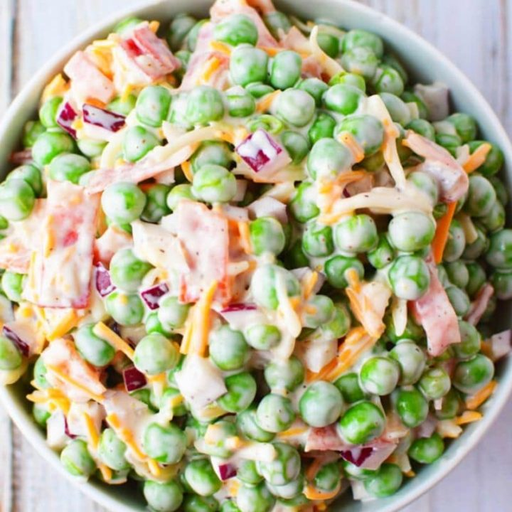 Creamy Pea Salad with Red Onions and Cheese