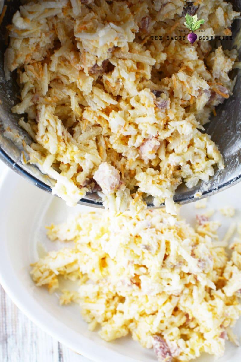 pour potatoes into a prepared casserole dish