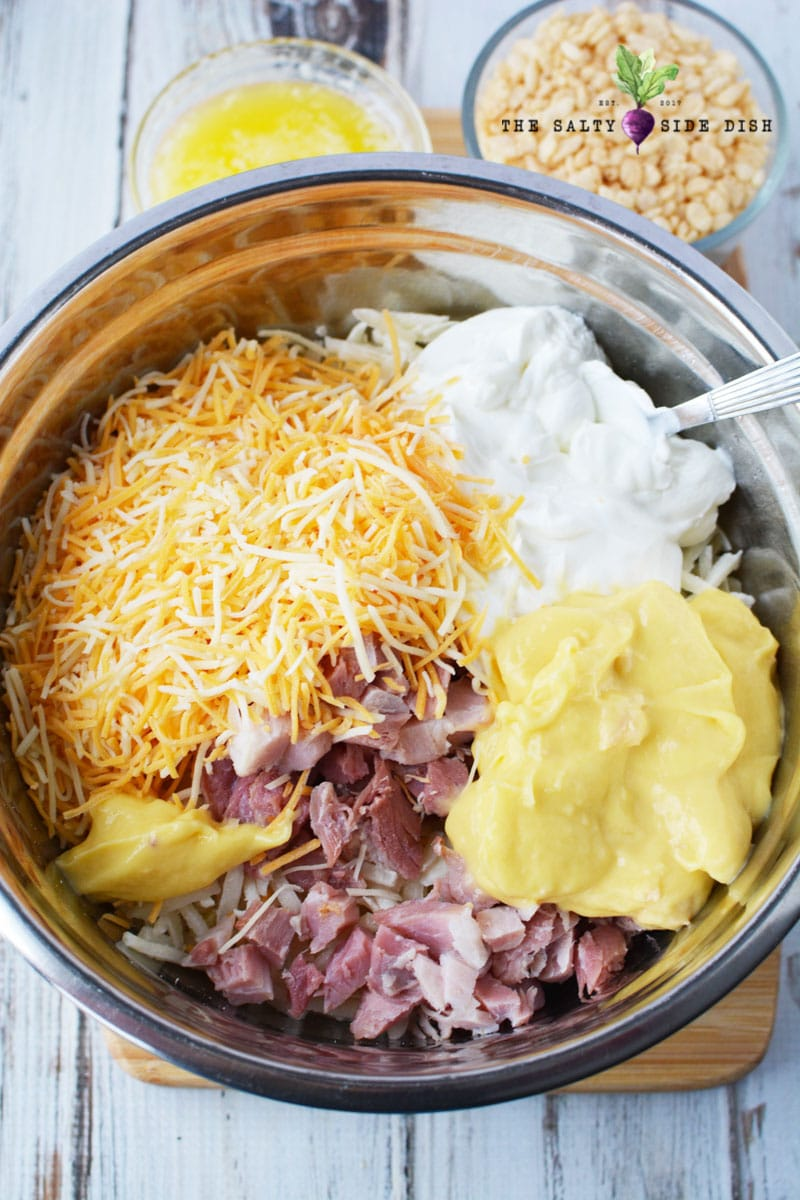 mix up all your hash browns with cheese and soup