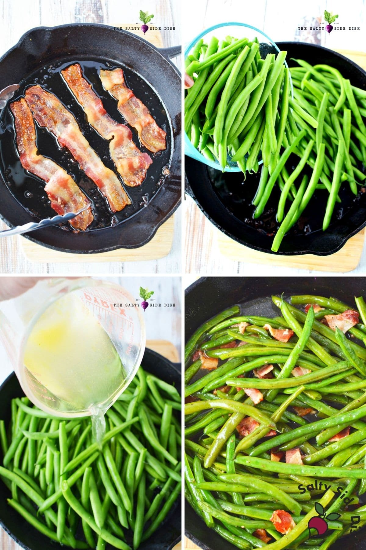 making bacon and adding sauteed green beans