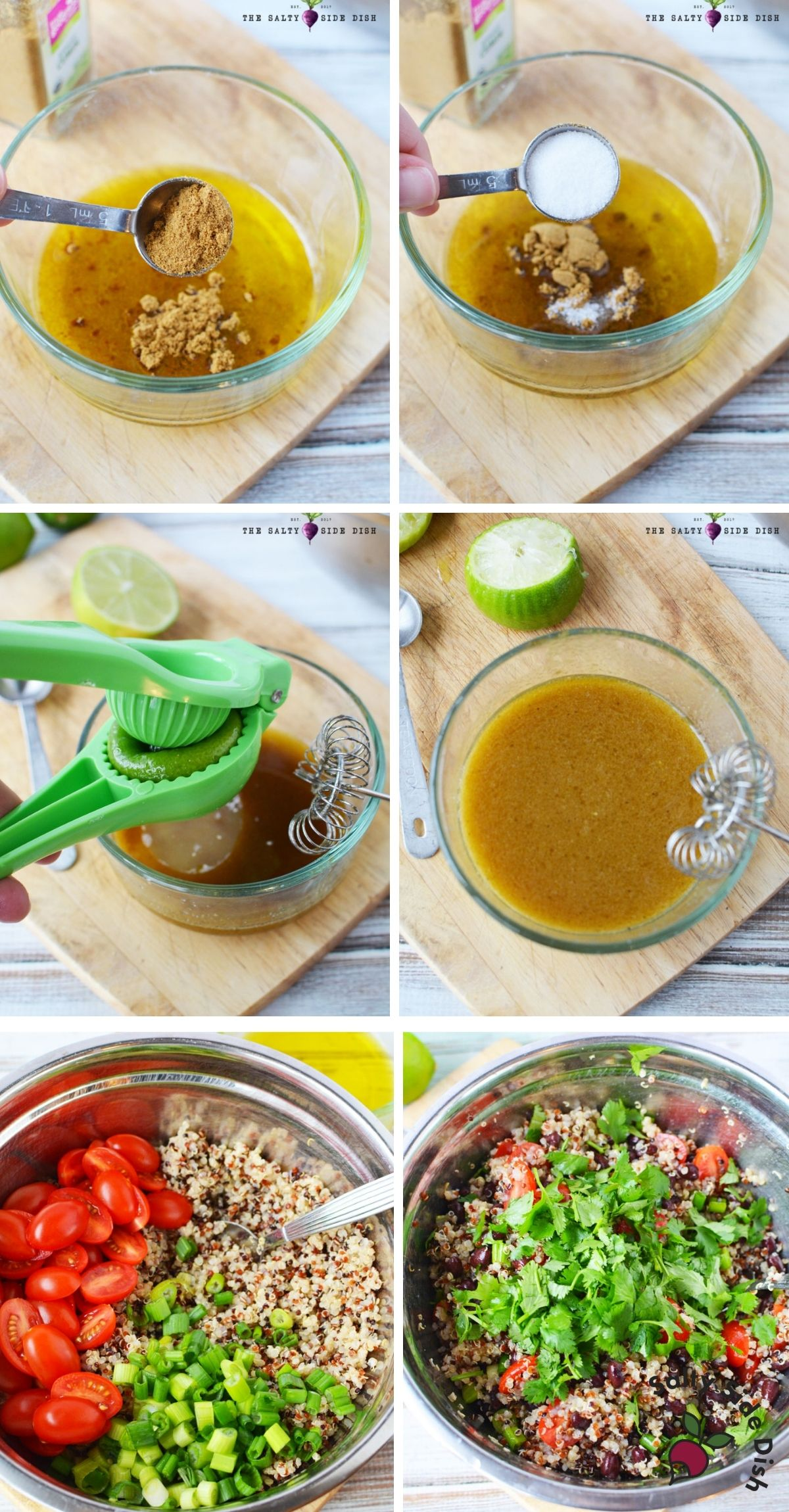making dressing in a bowl and adding to quinoa salad ingredients