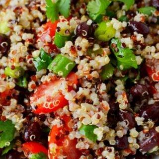 black bean quinoa salad on a white plate with fresh cilantro