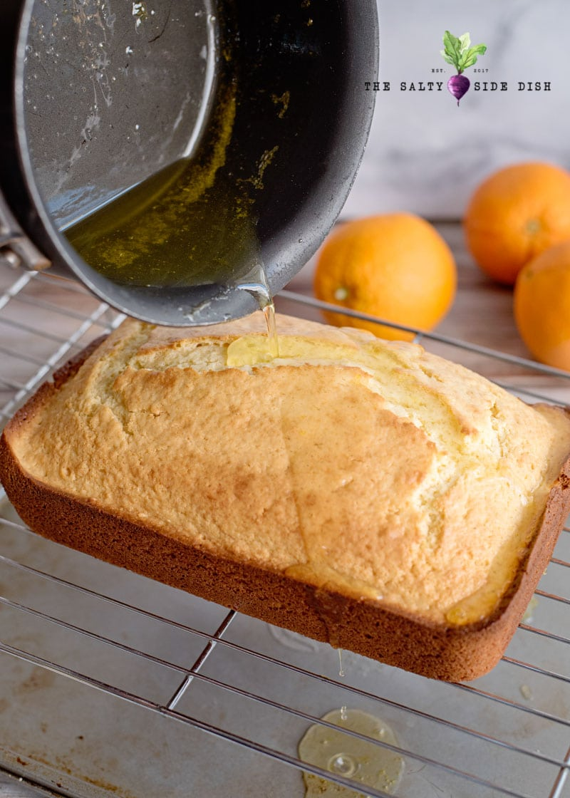 sticky orange syrup poured onto the bread