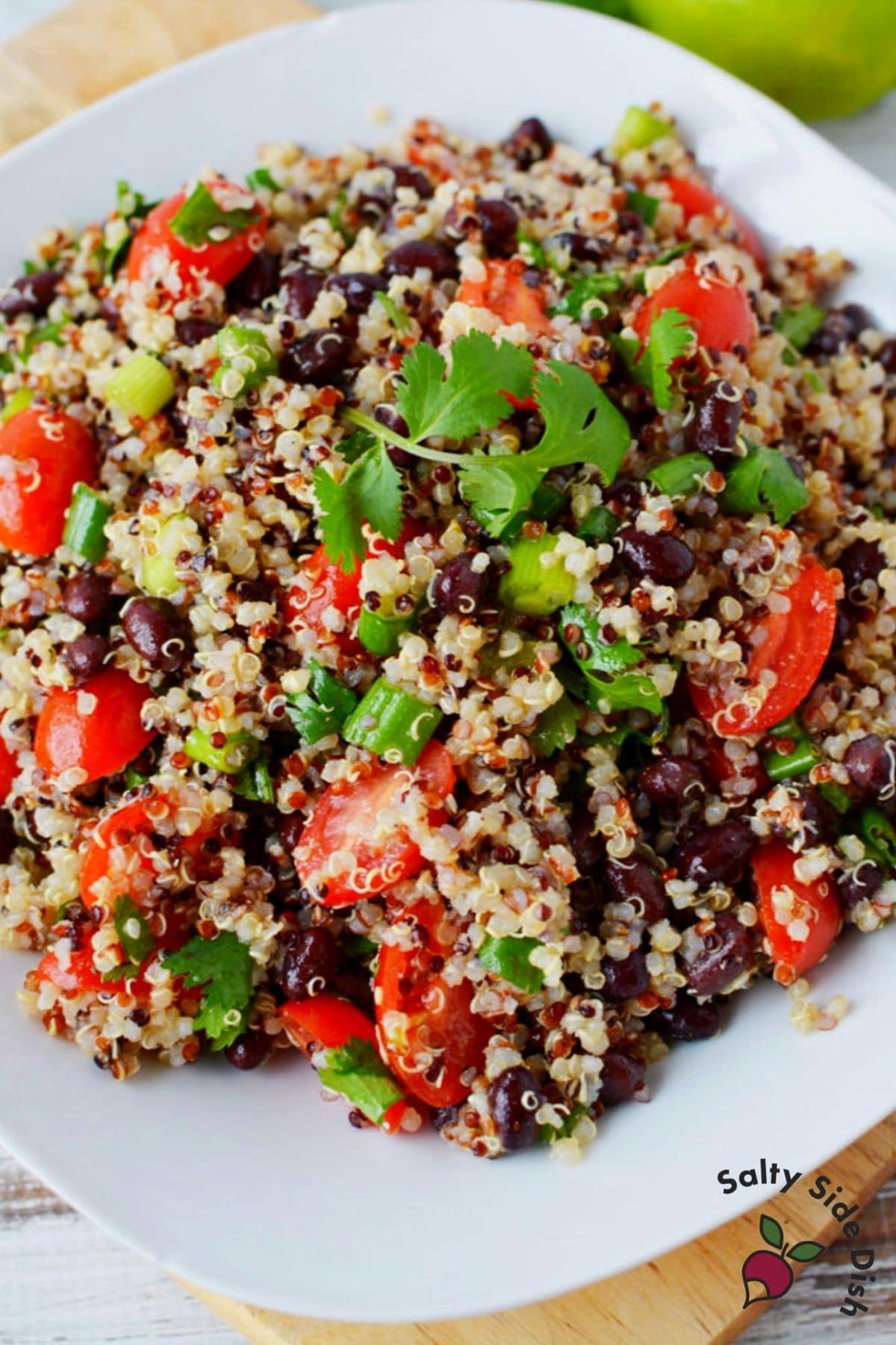quinoa salad on a white plate
