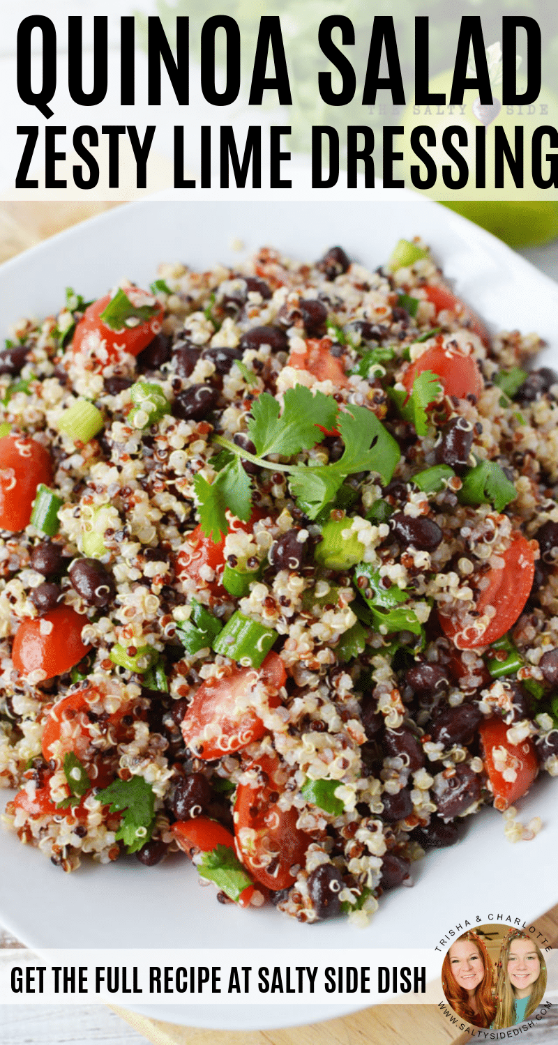 Quinoa Salad with black beans and zesty lime and cumin dressing #quinoa #sidedish