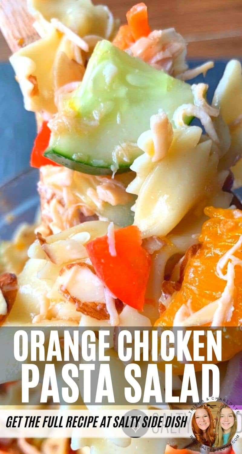 Mandarin Orange Chicken Pasta Salad with Asian dressing , a perfect cold salad side dish for a pot luck #sidedish #potluck #sidesalad #chickensalad #potlucksalad