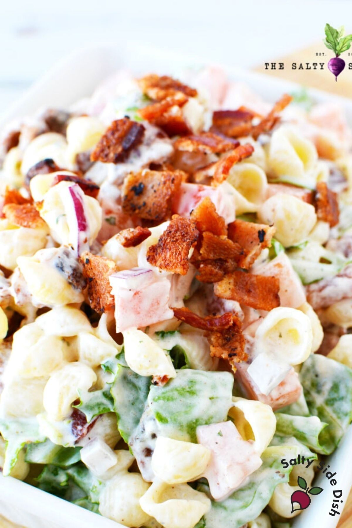 close up of pasta salad recipe on a plate.