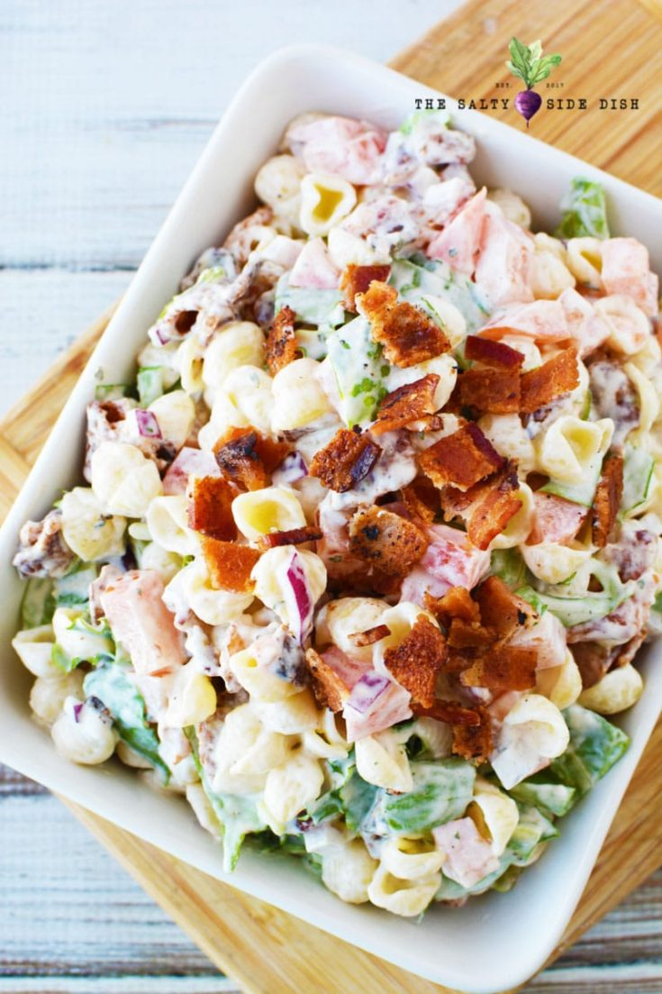 BLT Pasta Salad with Mayo and Ranch Dressing