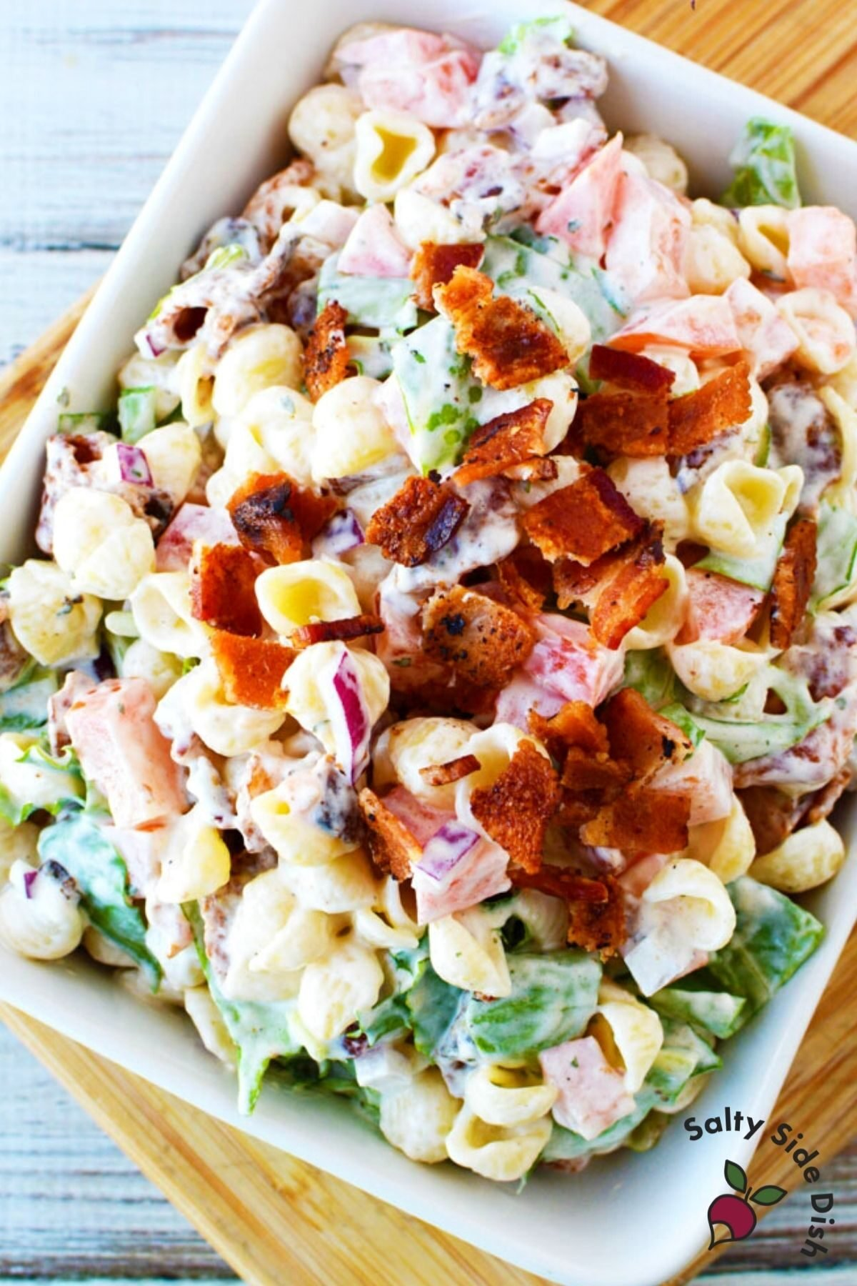 blt pasta recipe with white plate.