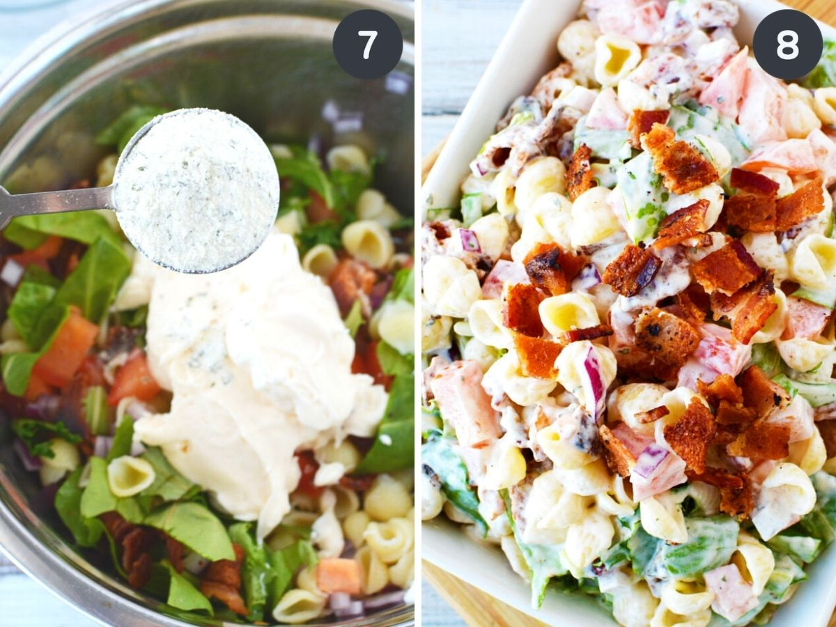 2 images side by side, one showing ranch powder being added into salad bowl and the next, completed recipe.