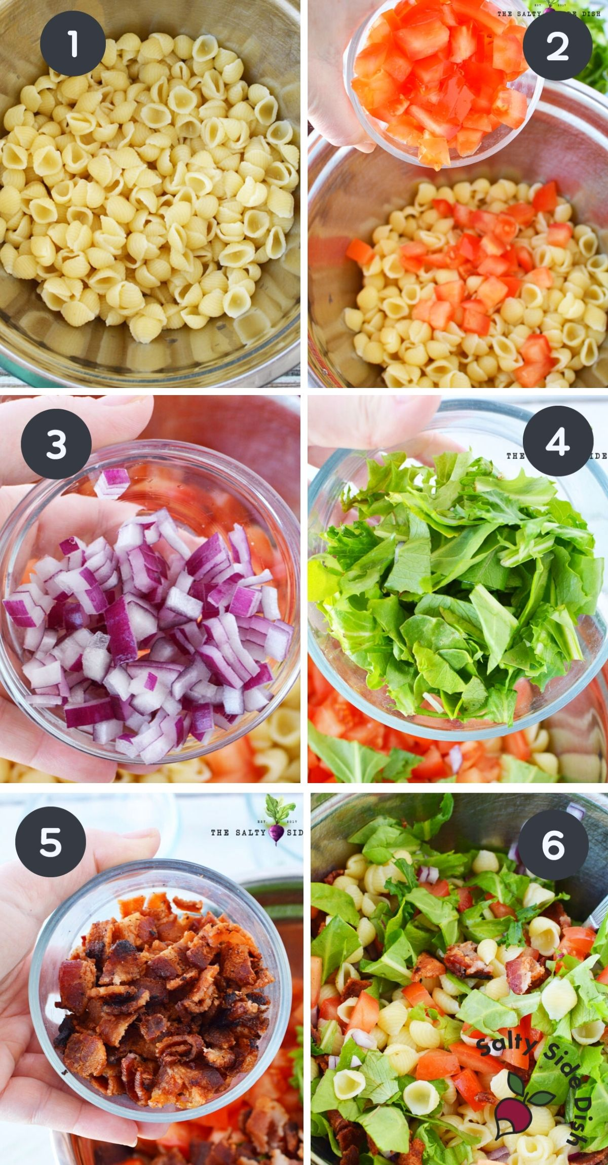 6 image collage that shows progression of ingredients being added to a bowl for blt salad.