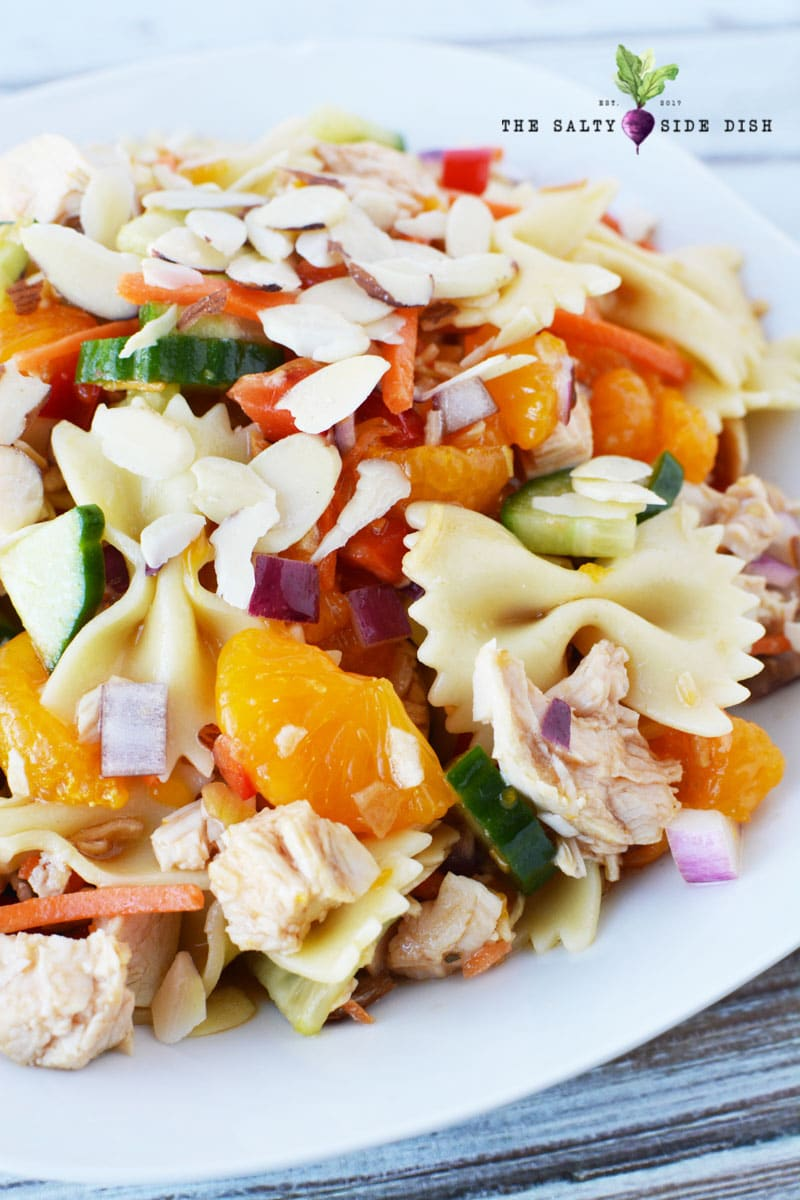 mandarin salad with slivers of crunchy almonds ready to serve