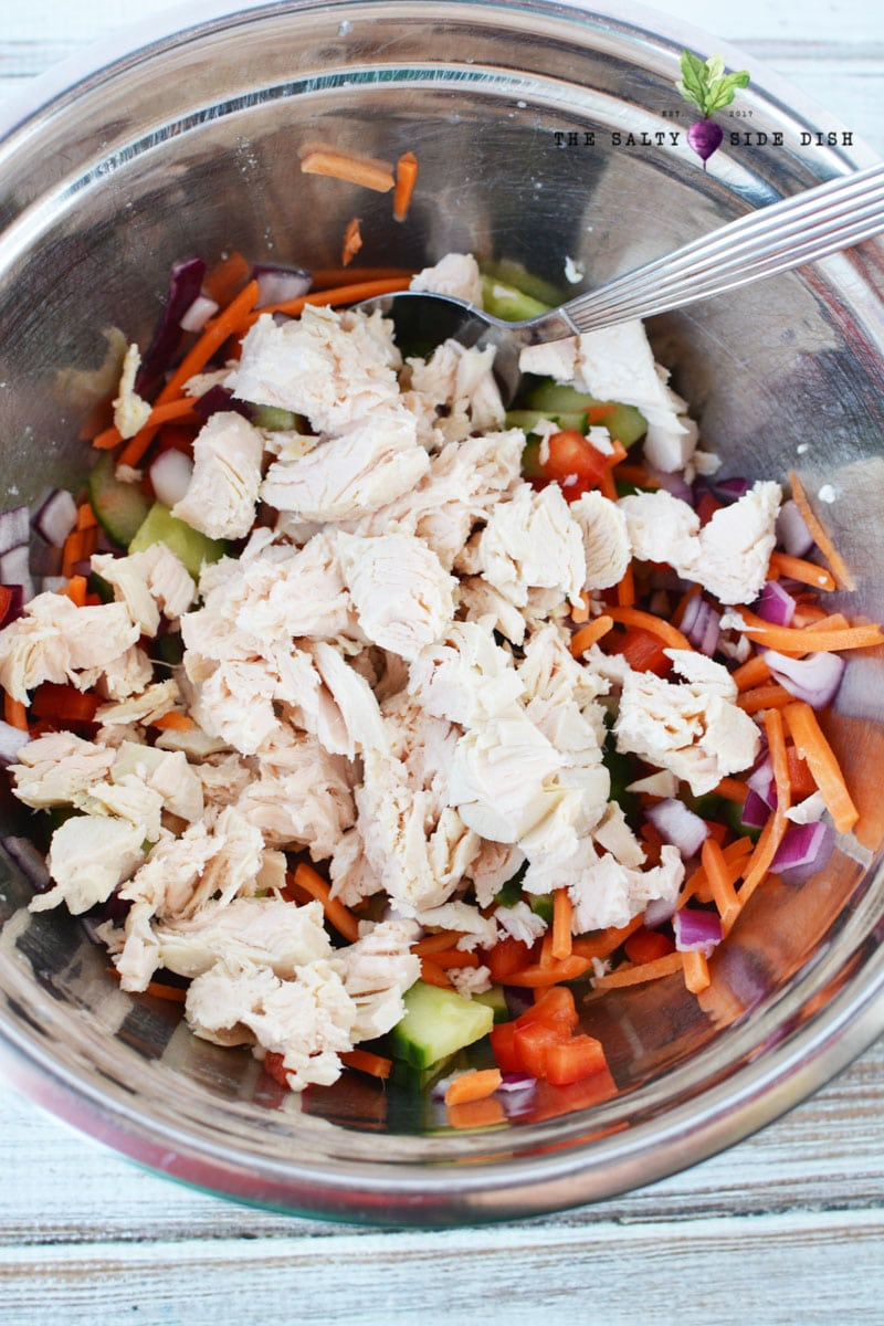 shredded chicken for perfect protein in your salad recipe