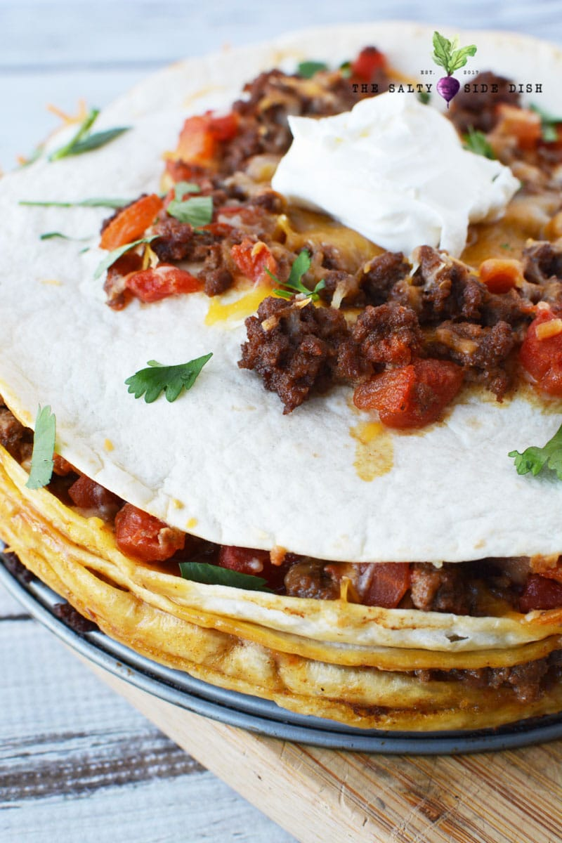 taco pie recipe with fresh flour tortillas